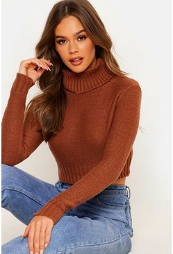 Womens Chestnut Turtle Neck Crop Jumper