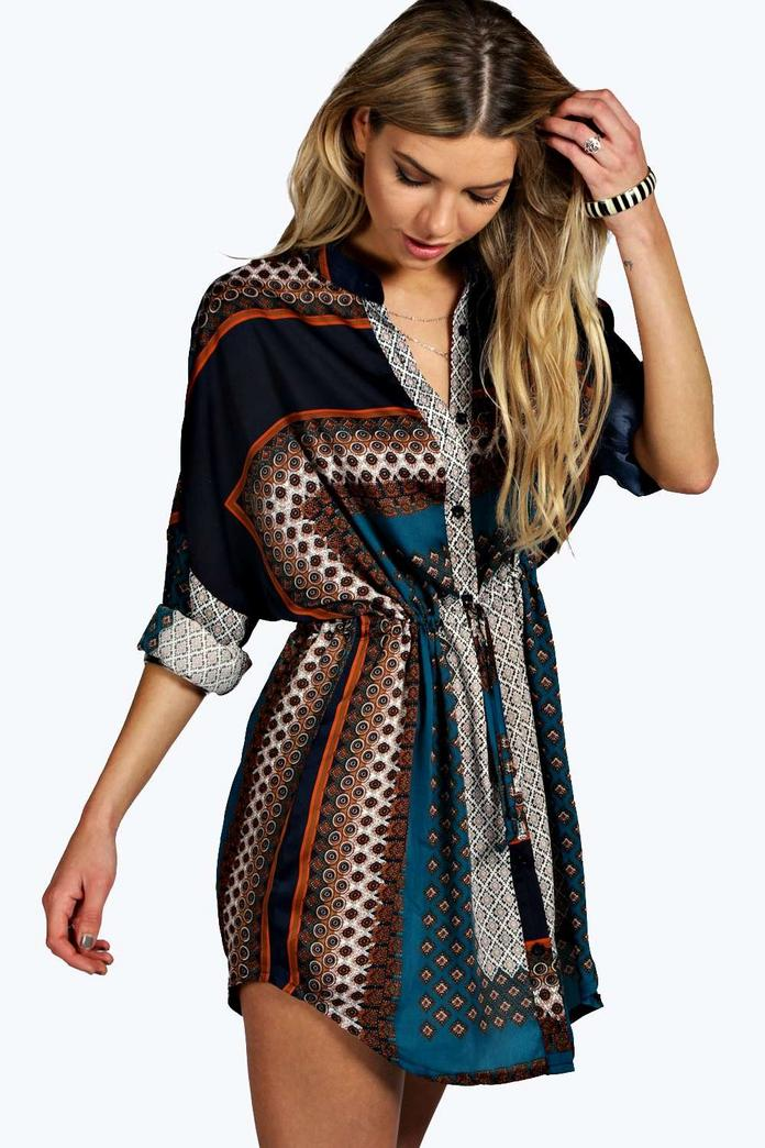 Blair Paisley Print Shirt Dress Boohoo