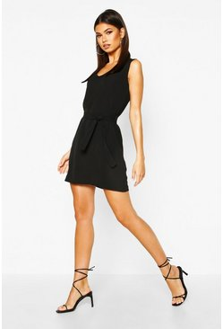 Womens Black Tie Waist Woven Shift Dress