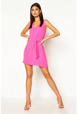 Womens Fuchsia Tie Waist Woven Shift Dress
