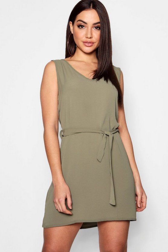 Khaki Tie Waist Woven Shift Dress