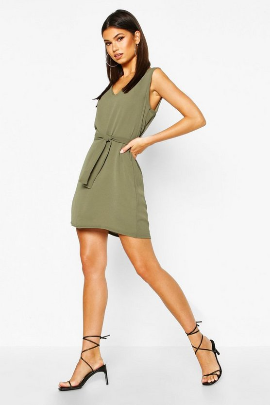 Womens Olive Tie Waist Woven Shift Dress