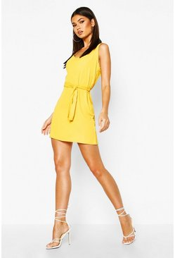 Womens Yellow Tie Waist Woven Shift Dress