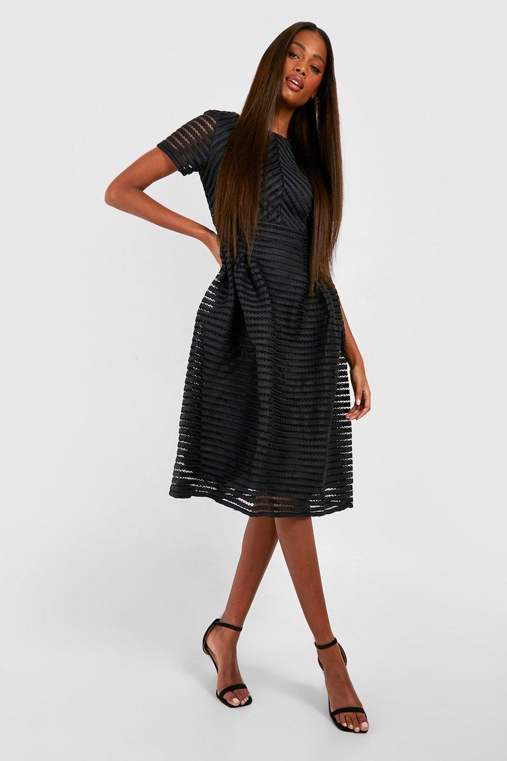 0be49ac9fe Womens Black Boutique Full Skirted Prom Midi Dress