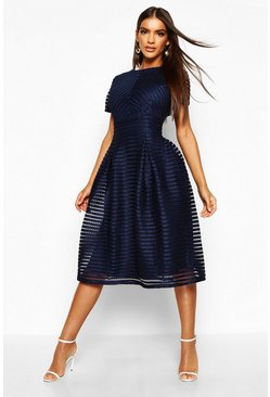Navy Boutique Full Skirted Prom Midi Dress