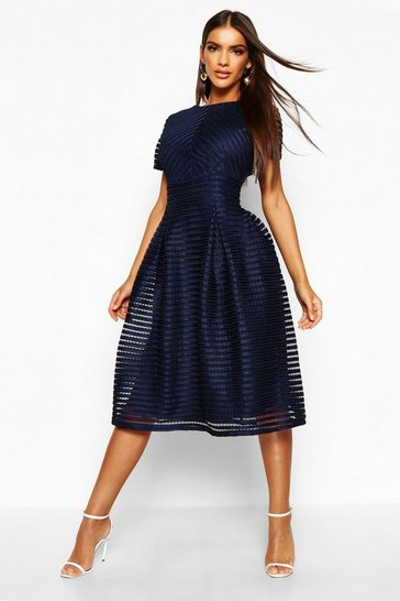 Womens Navy Boutique Full Skirted Prom Midi Dress