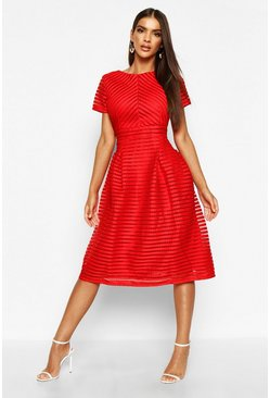 Womens Red Boutique Full Skirted Prom Midi Dress