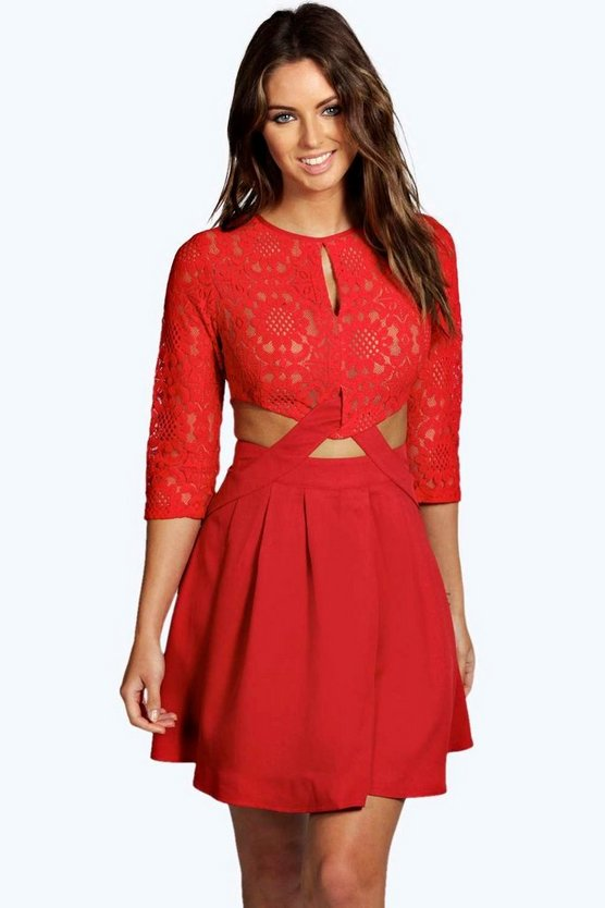 Womens Red Lace Cutout Side Skater Dress