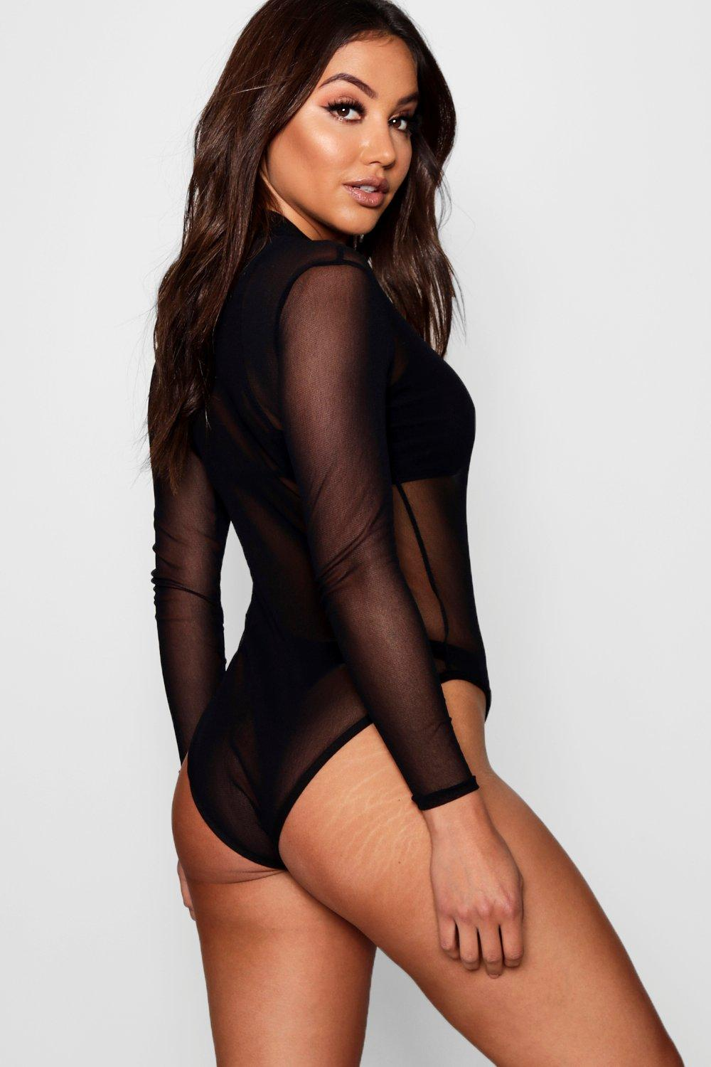 7829d3bd502e Womens Black Rose Turtle Neck All Over Mesh Bodysuit. Hover to zoom. Close  video