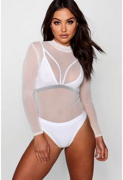 Womens Cream Rose Turtle Neck All Over Mesh Bodysuit