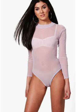 Lilac Rose Turtle Neck All Over Mesh Bodysuit