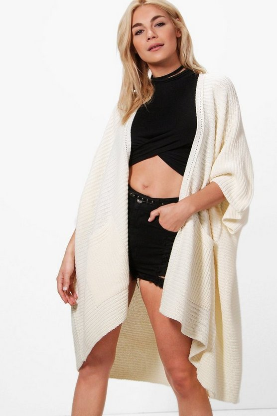 Womens Cream Pocket Cape Cardigan
