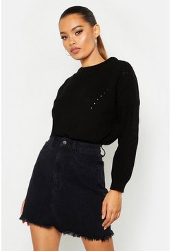 Womens Black Open Knit Turtle Neck Jumper