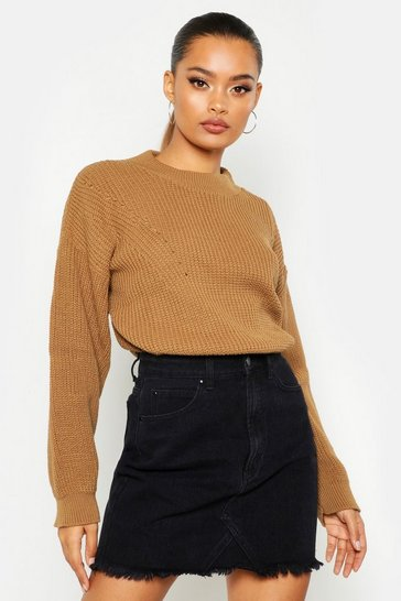 Womens Camel Open Knit Turtle Neck Jumper