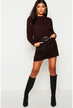 Womens Chocolate Open Knit Turtle Neck Jumper