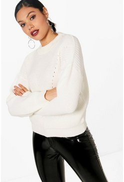 Womens Cream Open Knit Turtle Neck Sweater