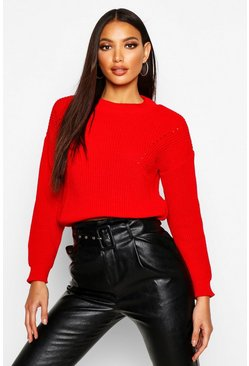 Womens Tomato Open Knit Turtle Neck Jumper