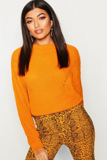 Womens Yellow Open Knit Turtle Neck Jumper