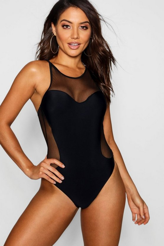 Womens Black Mesh Racer Back Swimsuit