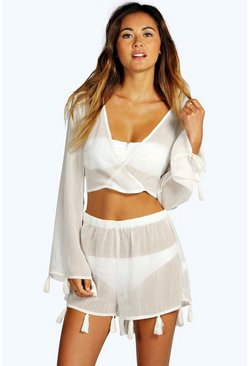 Womens Cream Tassel Crop & Short Beach Co-ord
