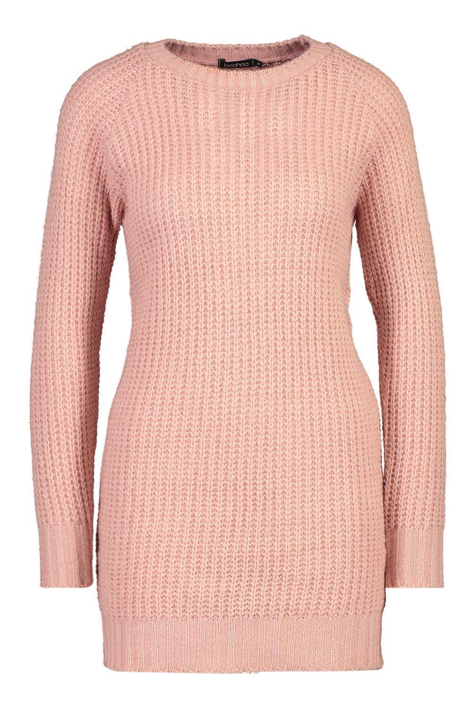 estilo de rubor suéter punto suave Vestido Rosa SwdHqS