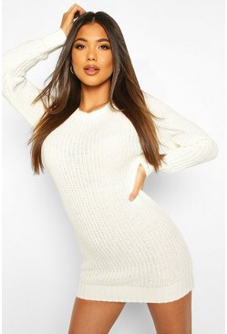 Cream Soft Knit Jumper Dress