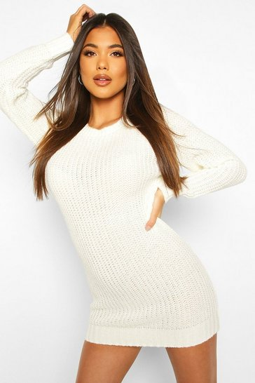 Womens Cream Soft Knit Jumper Dress
