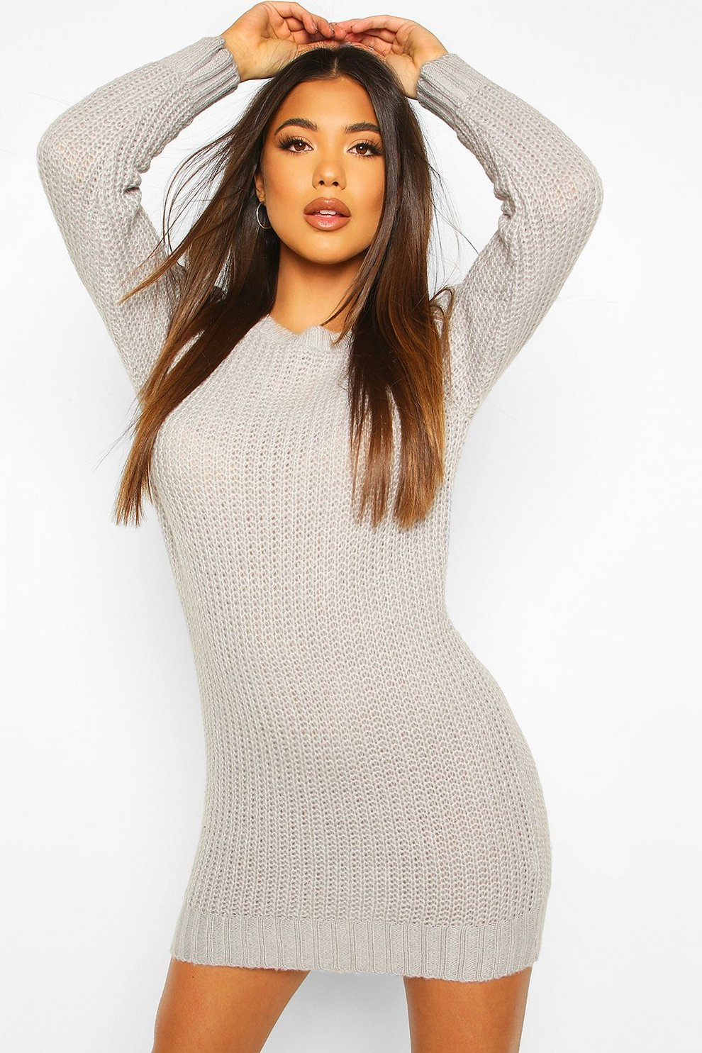 a60039f77a1f Womens Silver Soft Knit Sweater Dress