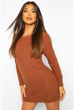Tobacco Soft Knit Jumper Dress
