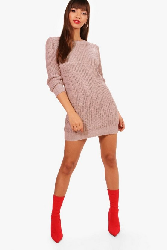Womens Beige Soft Knit Jumper Dress