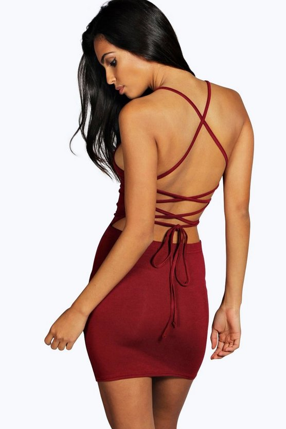 Womens Berry Strappy Back Mini Dress