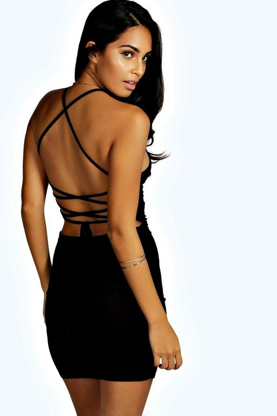 Womens Black Strappy Back Mini Dress