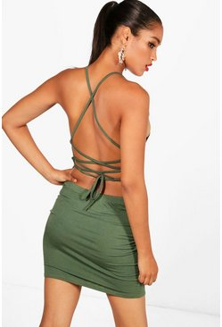 Womens Khaki Strappy Back Mini Dress