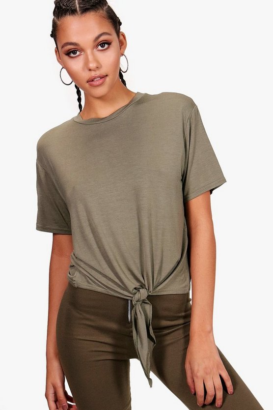 Womens Khaki Basic Tie Front T-Shirt