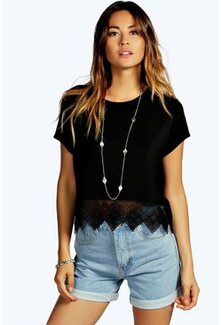 Womens Black Crochet Hem Trim Crop Top