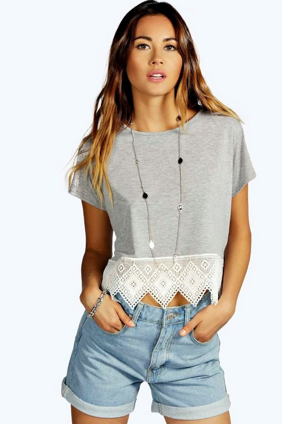 Womens Grey marl Crochet Hem Trim Crop Top