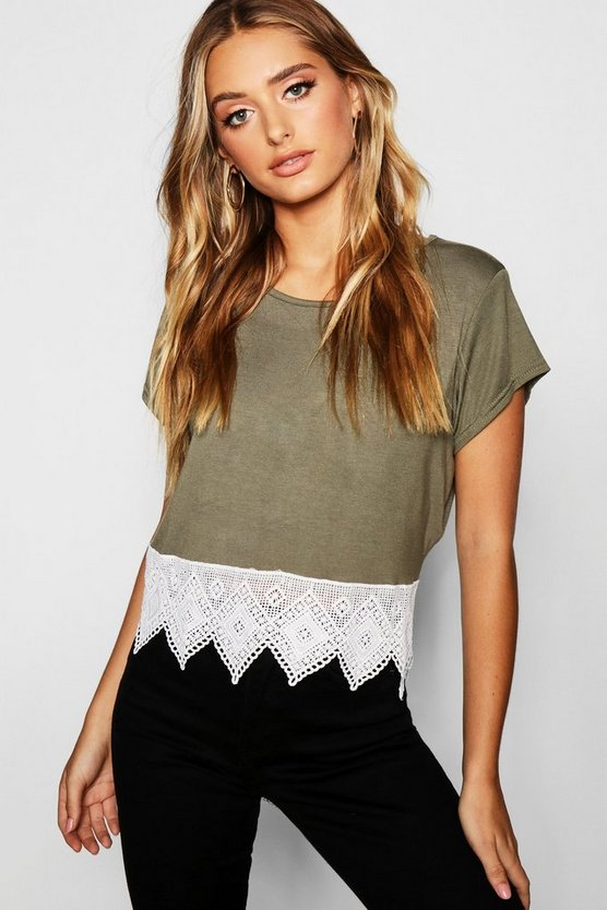 Crochet Hem Trim Crop Top