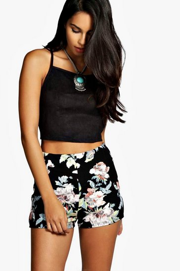 Womens Multi Floral High Waisted Shorts