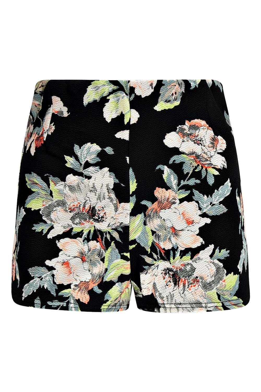 Multicolor de Pantalones alta florales cortos cintura CwWXARq