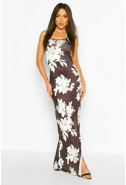 Womens Multi Slinky Back Detail Maxi Dress