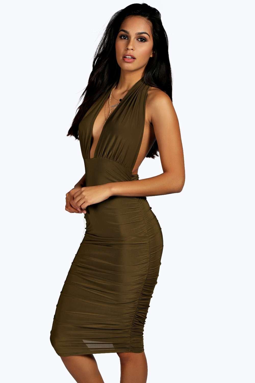 baf98ec47f3d Flora Ruched Side Plunge Halter Slinky Dress