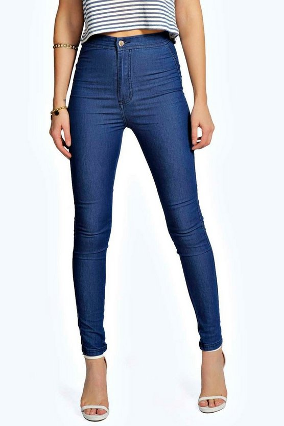 Womens Mid blue High Waisted Skinny Jeans