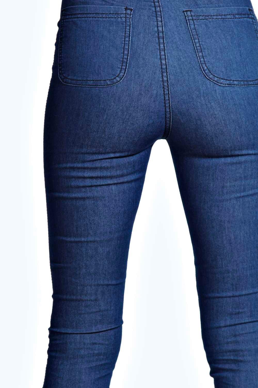 cintura Azul Jeans alta medio de skinny qvc1SBca
