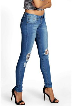 Womens Blue Distressed Rip Knee Skinny Jeans