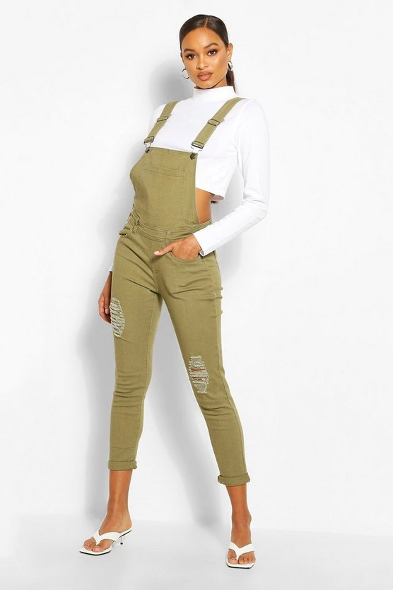 Womens Khaki Slim Fit Distressed Denim Overalls