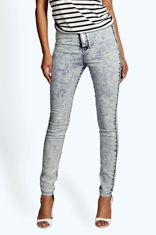 9da40b5367841 Lara High Waist Acid Wash Tube Jeans. Hover to zoom