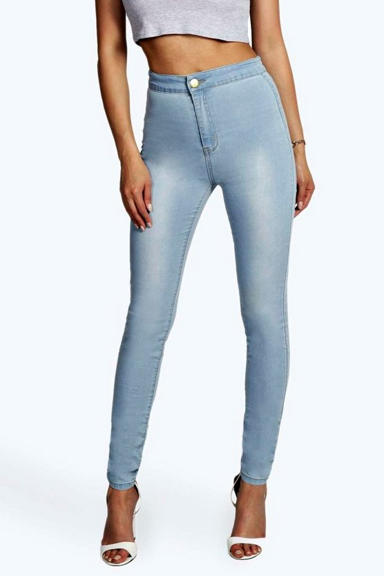 Womens Blue High Waist Tube Jeans