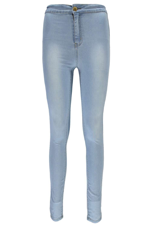 alta cintura con Jeans Azul tubo qaBtwxp
