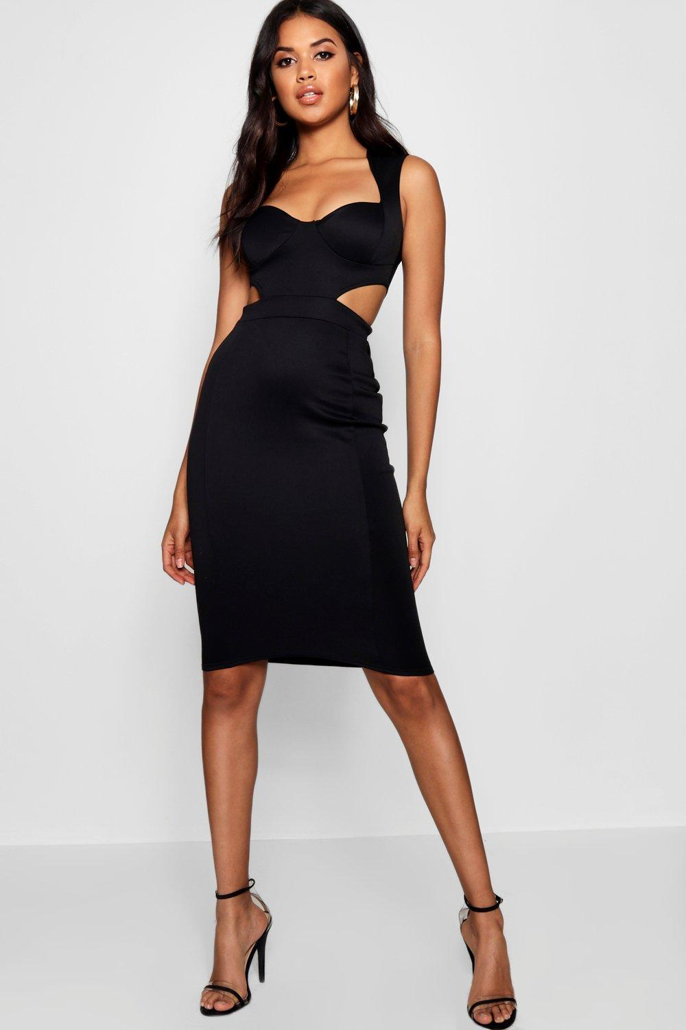Birdie Sweetheart Cut Out Side Bodycon Dress At Boohoo Com