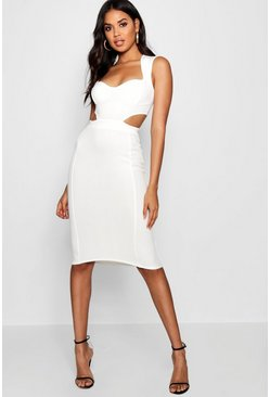 Womens Ivory Sweetheart Cut Out Side Bodycon Dress